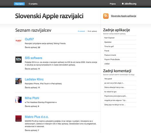 Slovenski Apple razvijalci (razvijalci.si) - GUI, umetniško vodenje