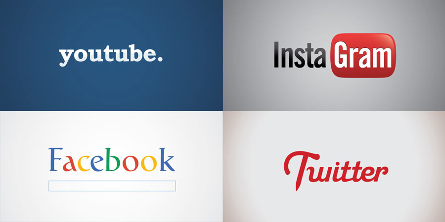 Swapped Famous Logos - youtube, instagram, facebook, twitter.