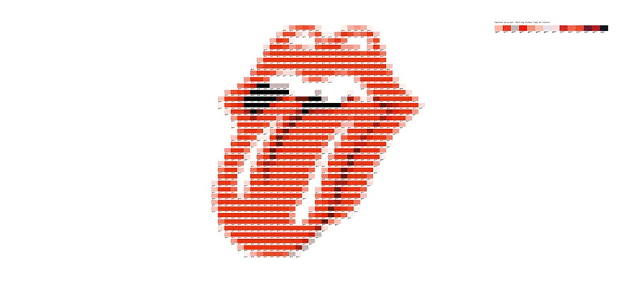 Pantone as pixel - Rolling Stones logo