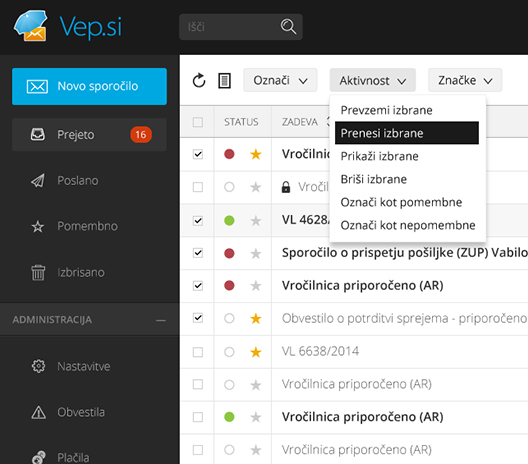 Vep.si - GUI for responsive web-based secure email service