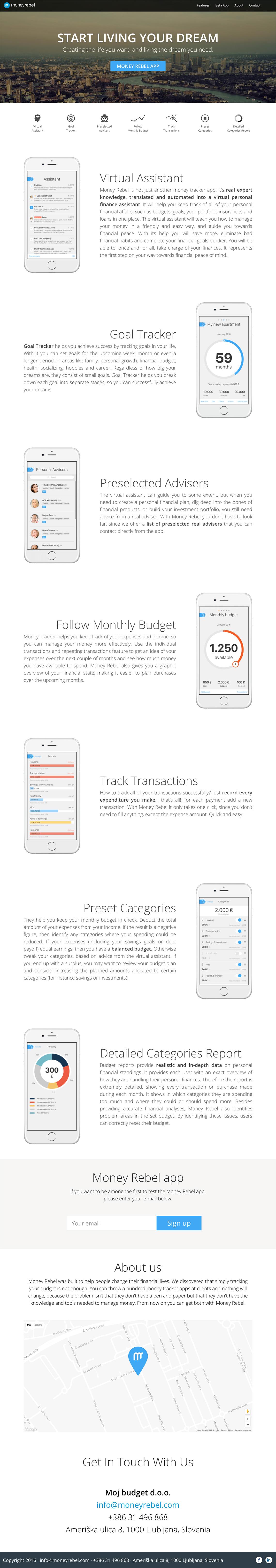 moneyrebel - spletna stran za mobilno aplikacijo