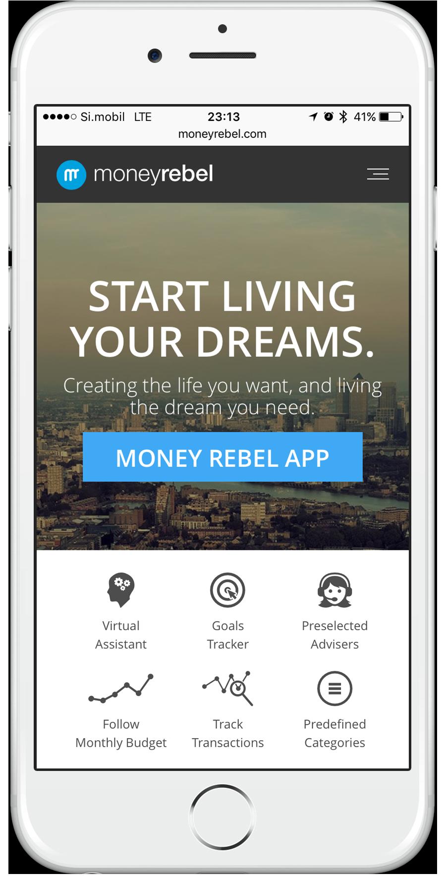 Odzivna spletna aplikacija Moneyrebel