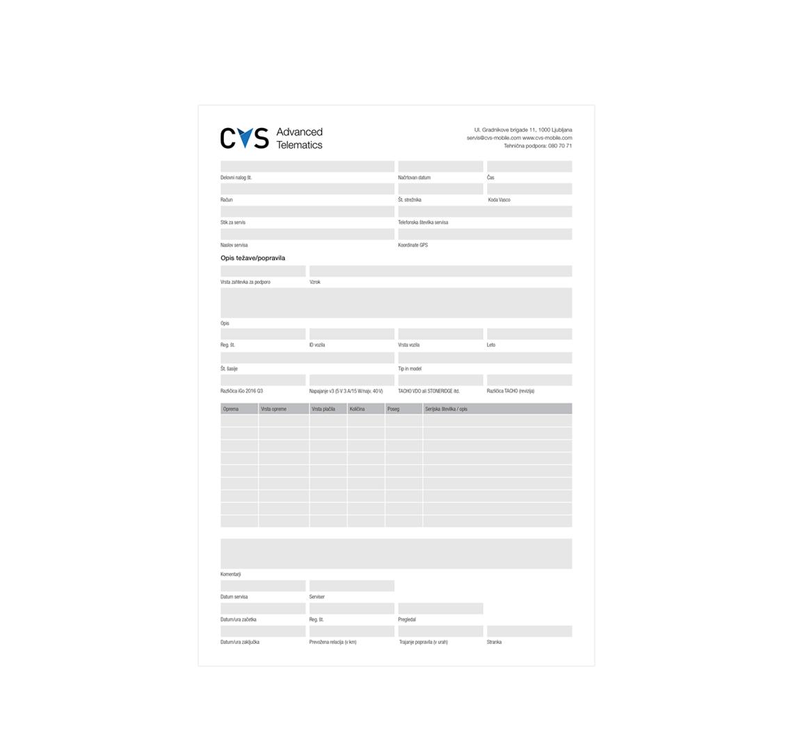 Delovni nalog CVS Mobile