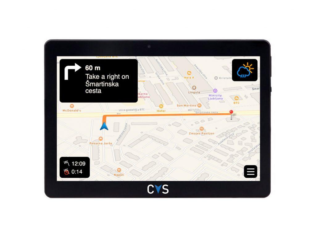 Ohišje tablice in zasnova za uporabniški vmesnik navigacije CVS Advanced Telematics