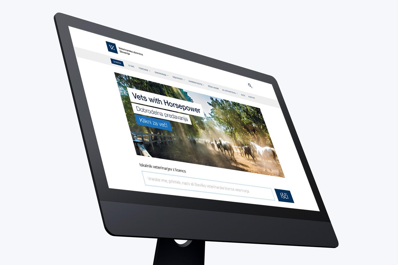 Veterinarska zbornica Slovenije - mockup spletne strani