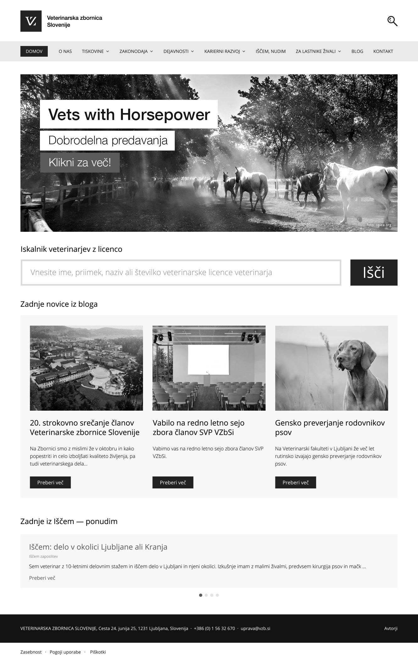 Veterinarska zbornica Slovenije - spletna stran