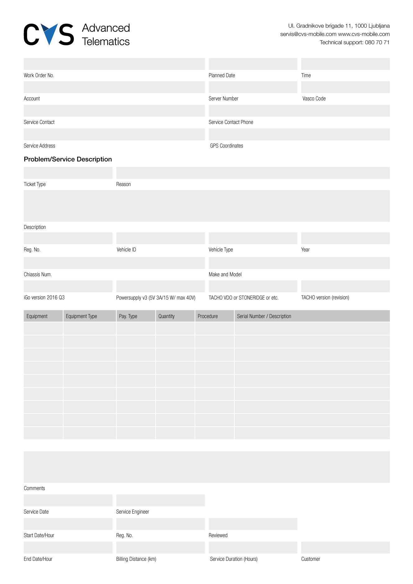 Delovni nalog - CVS Mobile