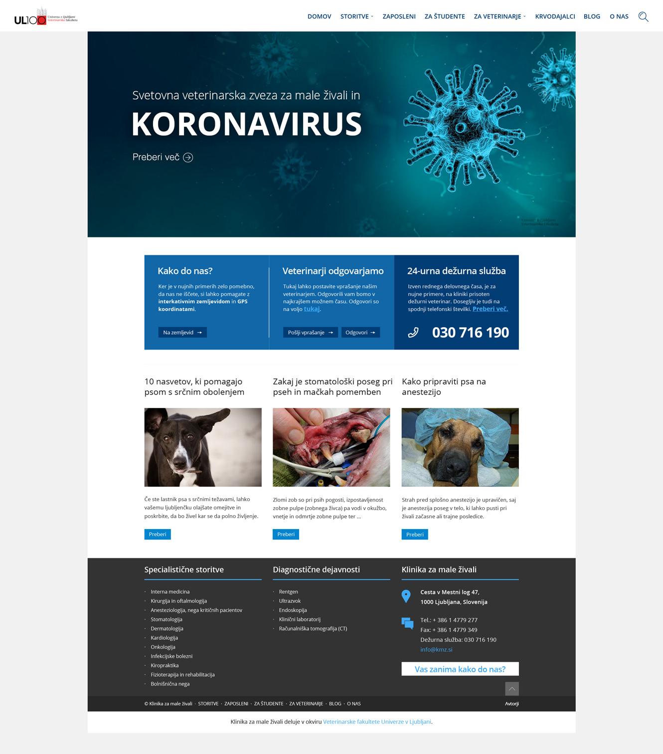 Klinika za male živali - spletna stran