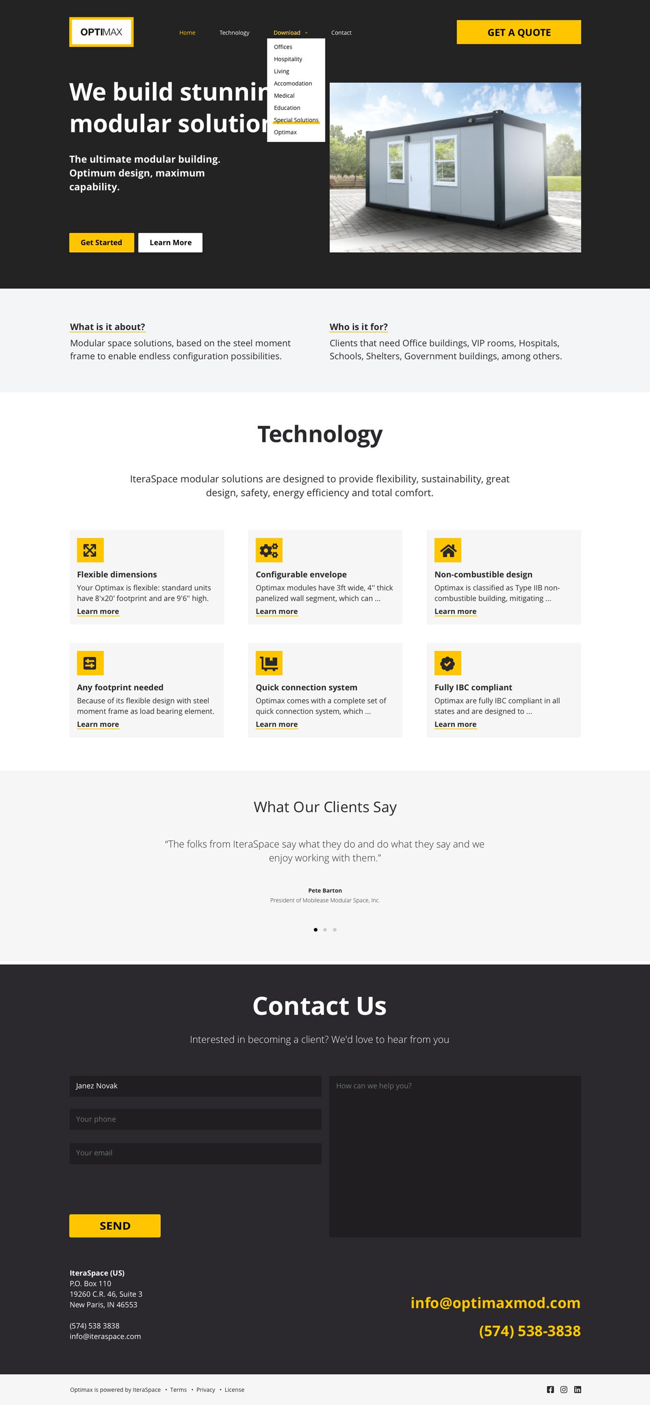 OptimaxMod produktna spletna stran